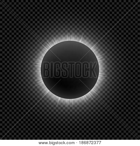 Realistic Moon Eclipse for Your Design. White Moonlight with Rays