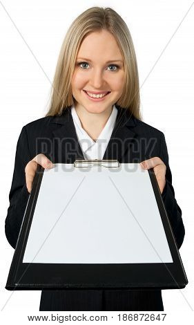Woman friendly smiling clipboard giving placeholder sheet of paper