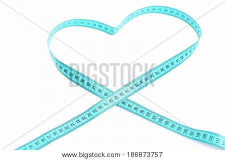 Centimeter In Heart Shaped Isolated On White