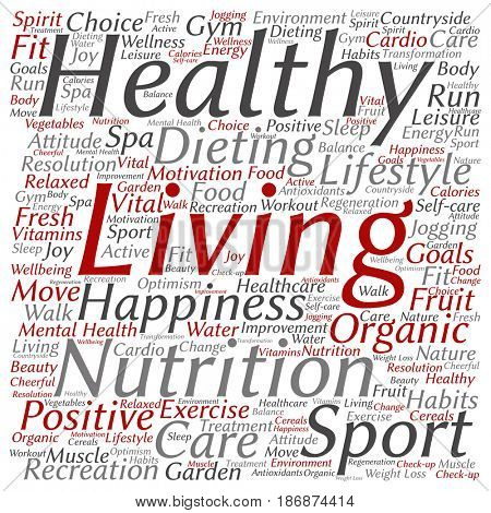 Concept or conceptual healthy living positive nutrition sport square word cloud isolated background. Collage of happiness, care, organic, recreation workout, beauty, vital healthcare spa text