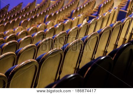 The chairs in the auditorium. Hall without an audience. Wooden backrest, and blue upholstery.