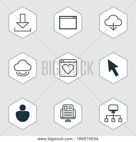 Set Of 9 Internet Icons. Includes Program, Save Data, Login And Other Symbols. Beautiful Design Elements.