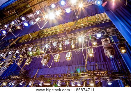 Lighting equipment on stage, musical theatre or Philharmonic.
