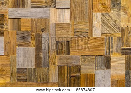 Fragment of mosaik panel from different grunge vintage wooden textures for design, decoration