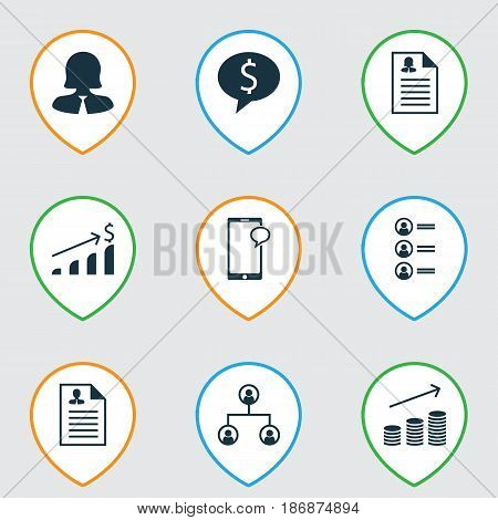 Set Of 9 Human Resources Icons. Includes Curriculum Vitae, Female Application, Successful Investment And Other Symbols. Beautiful Design Elements.