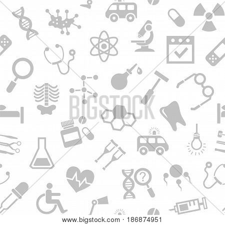 Medicine, white background, seamless, vector.  Medical services specialization. The profession of doctors. Medical instruments. Grey, flat pictures on a white field. Vector background.