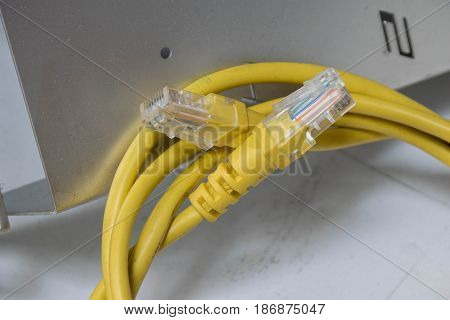 Close up dirty network cable with RJ45  connectors