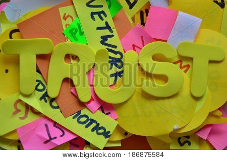word trust on a  abstract colrful   background