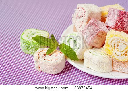 Turkish Delight Lokum.Sweet Turkish delight lokum traditional dessert.