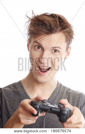 Laughing man plays computer game using joystick