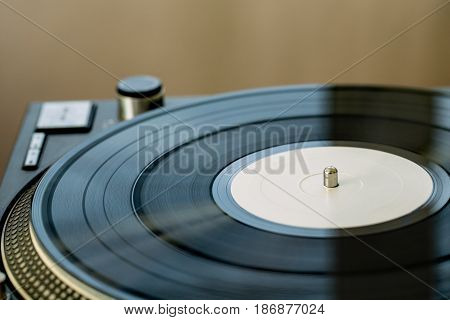 Turntable record gramophone vinyl gramophone record blank vinyl close up