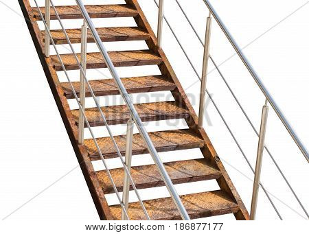 Old rusty metal ladder on white background