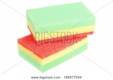Stack of two scouring sponges isolated on white background