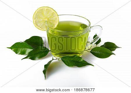 Tea cup glass lemon lime leaves chinese tea