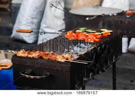 Delicious Bbq Kebab Vegetables Grilling On Open Grill, Outdoor Kitchen. Food Festival In City. Tasty