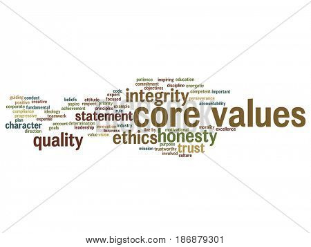 Conceptual core values integrity ethics abstract concept word cloud isolated background. Collage of honesty quality trust, statement, character, important perseverance, respect trustworthy text