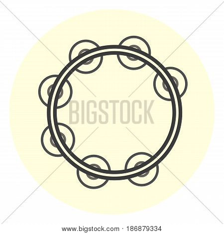 Flat tambourine icon simple music instrument icon