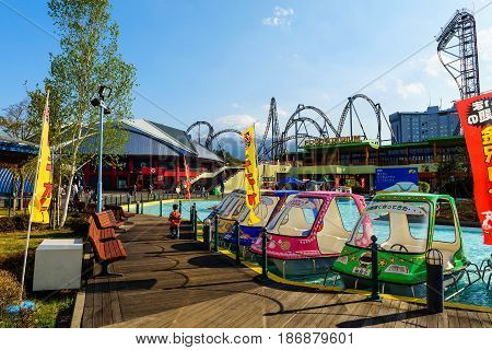 YAMANASHI JAPAN - MAY 01 2017: Fuji-Q Highland amusement park with Mt. Fuji view.