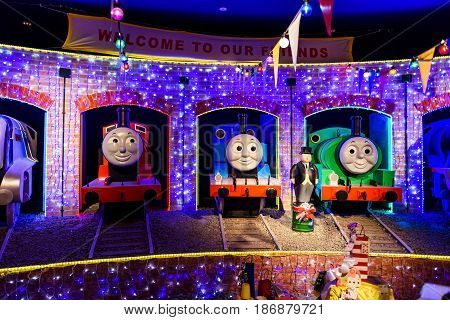 YAMANASHI JAPAN - MAY 01 2017: Thomas Percy and James monuments of Thomas land theme park in Fuji-Q Highland amusement park.
