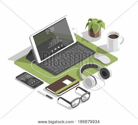 Flat isometric 3d workspace concept vector. Devices set on white background. Laptop, smart phone, tablet, player, desktop computer, glasses, cup of coffee, notebook, headphones.