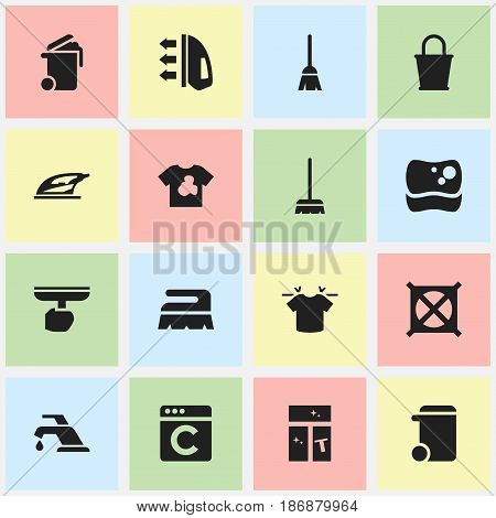 Set Of 16 Editable Dry-Cleaning Icons. Includes Symbols Such As Clean T-Shirt, Appliance, Faucet And More. Can Be Used For Web, Mobile, UI And Infographic Design.