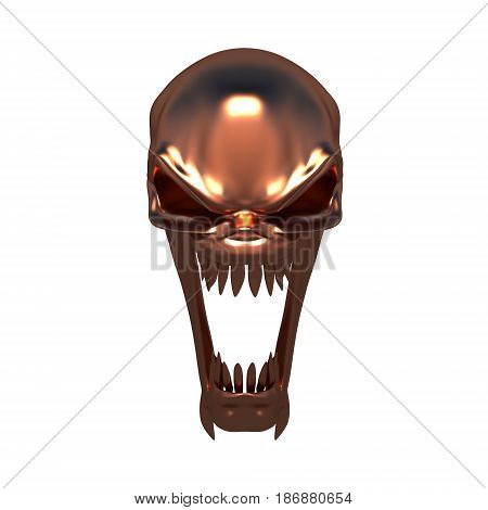 Metal copper skull fantastic creature on a white background
