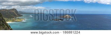 The Windward Coast of the island of Oahu, Hawaii.