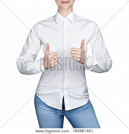 Girl in white blouse shows thumb up, on isolated white background