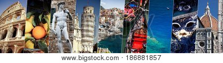collage with world famous attractions of Italy, Europe - individual pictures to be found in gallery