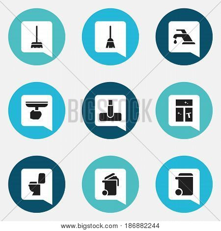 Set Of 9 Editable Dry-Cleaning Icons. Includes Symbols Such As Washing Glass, Faucet, Brush And More. Can Be Used For Web, Mobile, UI And Infographic Design.