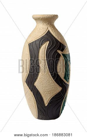 Ancient vase isolated on white background. Clipping path included.