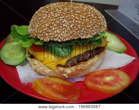 Regular cheeseburger with tomatoes and cucumber A single cheeseburger served on a red plate with tomato and cucumber slices