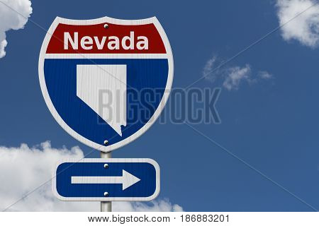 Road trip to Nevada Red white and blue interstate highway road sign with word Nevada and map of Nevada with sky background 3D Illustration