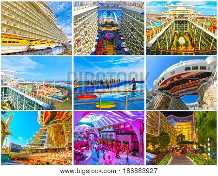 Barcelona, Spain - September, 6 2015: The collage from six images of the cruise ship Allure of the Seas, The Royal Caribbean International. Exterior and interior views of the ship