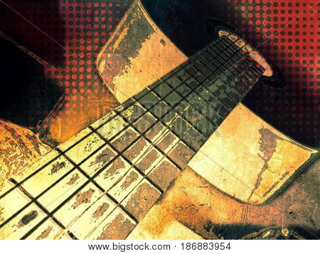 Rock band poster - music festival background with abstract guitar in pop art style