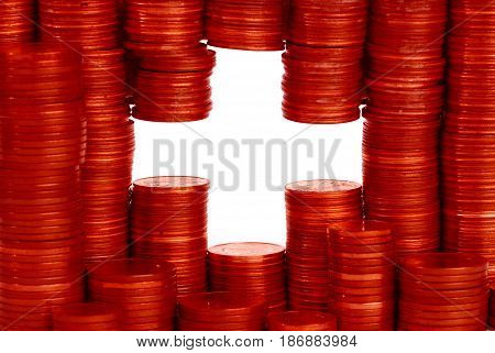 swiss  money flag constructed from stacks of coins
