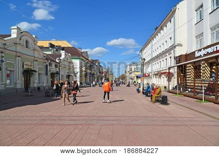 Tver Russia - may 07.2017. Trehsvyatskaya - pedestrians tourist street in a center of city