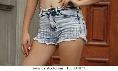 Thin Slender Fit Girl Wearing Jean Shorts