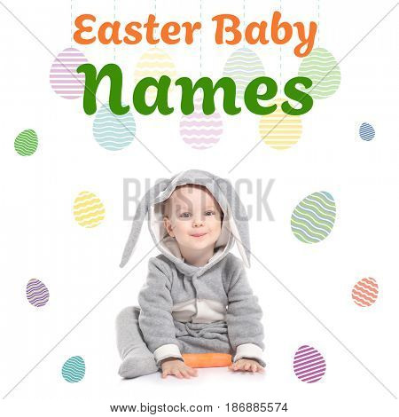 Concept of choosing Easter baby names. Little child in bunny costume with carrot on white background