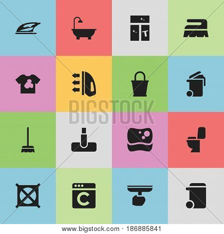Set Of 16 Editable Dry-Cleaning Icons. Includes Symbols Such As Hoover, Steam, Unclean Blouse And More. Can Be Used For Web, Mobile, UI And Infographic Design.