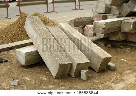 Concrete blocks after disassembly of roads on city streets.There is a planned repair of roads.