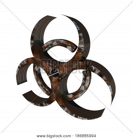Rusty biohazard sign on white background, 3D illustration