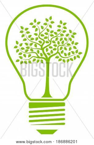 vector tree in light bulb isolated on white background