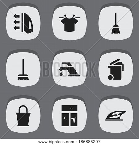 Set Of 9 Editable Dry-Cleaning Icons. Includes Symbols Such As Pail, Washing Glass, Appliance And More. Can Be Used For Web, Mobile, UI And Infographic Design.