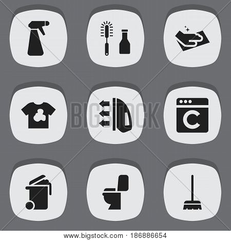 Set Of 9 Editable Dry-Cleaning Icons. Includes Symbols Such As Towel, Laundress, Cleanser And More. Can Be Used For Web, Mobile, UI And Infographic Design.