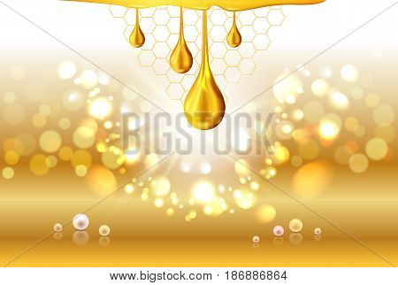 Golden yellow honey light shiny oil drops pearls and empty place for objects. Gradient mesh. Abstract sparkle swirl bokeh light background. Cosmetic lotion or liquid. Vector illustration stock vector.
