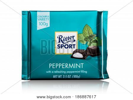 London, Uk - May 15, 2017:  Ritter Sport Milk Chocolate Bar With Peppermint On White. Ritter Sport C