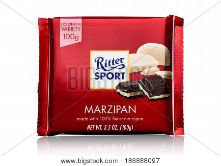 London, Uk - May 15, 2017:  Ritter Sport Milk Chocolate Bar With Marzipan On White. Ritter Sport Cho