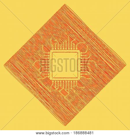 CPU Microprocessor illustration. Vector. Red scribble icon obtained as a result of subtraction rhomb and path. Royal yellow background.