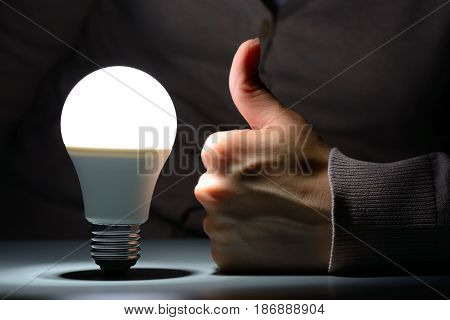 Female Hand Show Like And Glowing Led Light